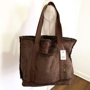 Walking Company faux suede chocolate sherpa tote